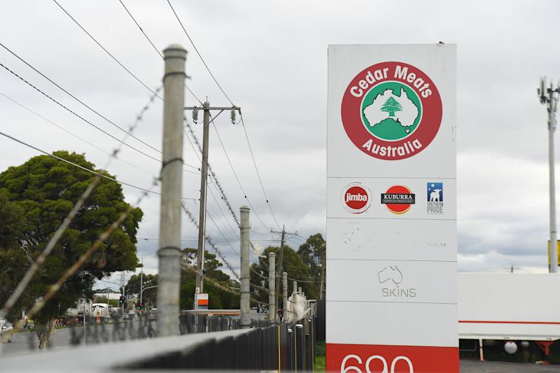 Cedar Meats Australia had an outbreak of the coronavirus, forcing the Melbourne facility to shut down. Source: AAP