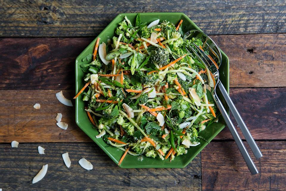 """Skip the dried-out grocery store slaw packets. Instead, grate broccoli stems and toss with chopped florets and a gingery dressing for a great combo of textures and bold, beautiful flavor. <a href=""""https://www.epicurious.com/recipes/food/views/broccoli-slaw-with-miso-ginger-dressing-56389809?mbid=synd_yahoo_rss"""" rel=""""nofollow noopener"""" target=""""_blank"""" data-ylk=""""slk:See recipe."""" class=""""link rapid-noclick-resp"""">See recipe.</a>"""
