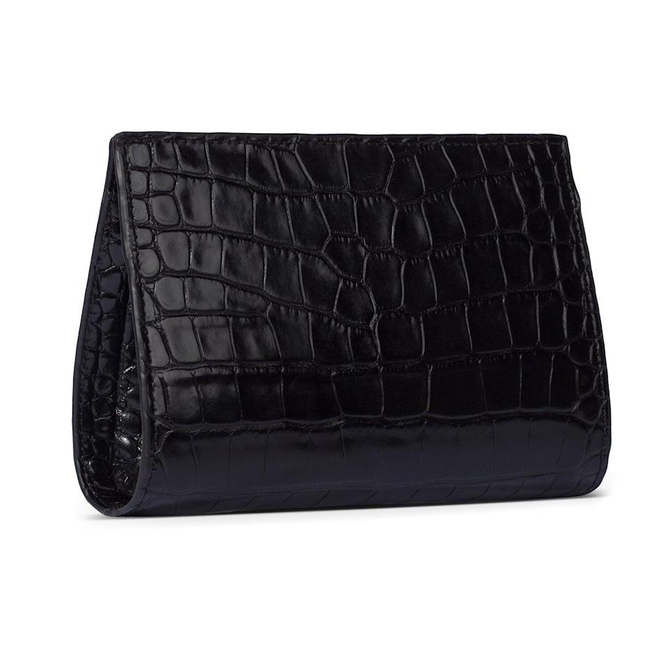 Erin Clutch In Black Stamped Leather