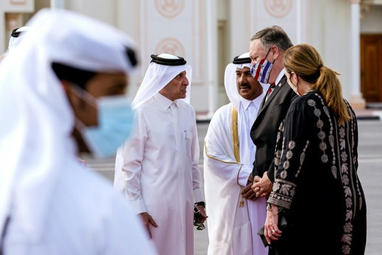US Secretary of State Mike Pompeo and his wife Susan arrive in Doha on Satuday, met by senior Qatari officials, to talk to negotiators from the Afghan government and the Taliban