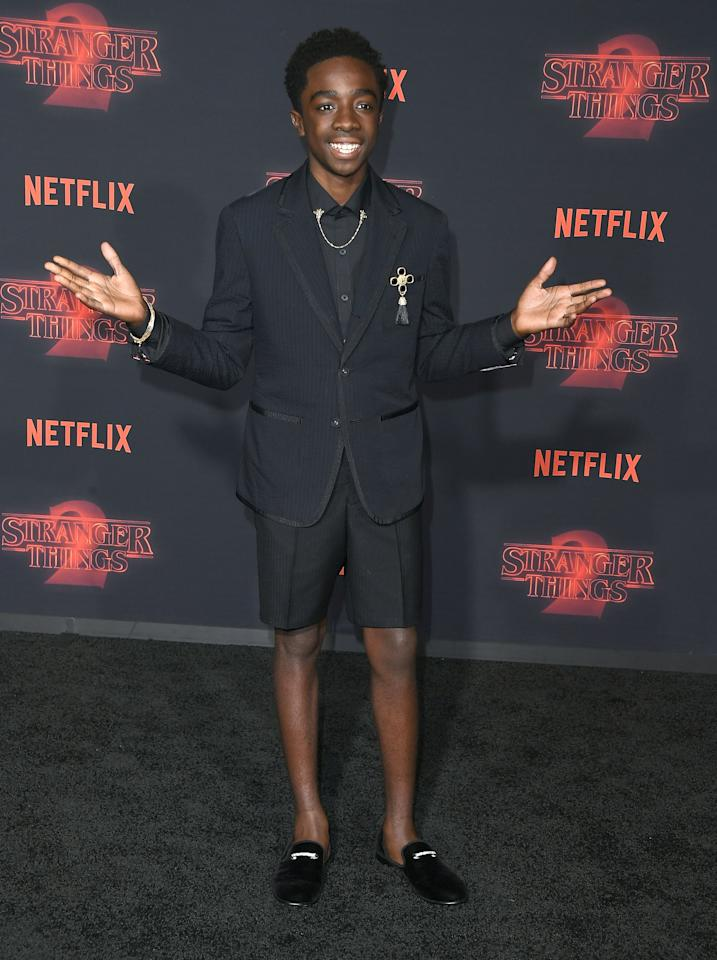 <p>The 16-year-old actor impressed once again in a black short suit and smoking slippers.<br /><i>[Photo: Getty]</i> </p>