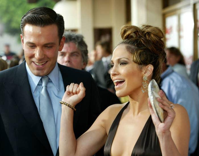 """Ben Affleck and Jennifer Lopez attend the """"Gigli"""" premiere in 2003."""