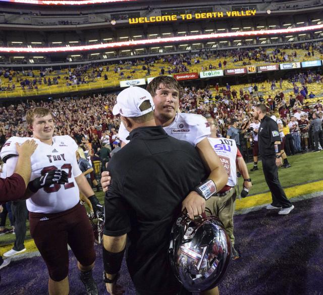 Quarterback Brandon Silvers got a memory of a lifetime in leading Troy to an upset of LSU last season. (AP)
