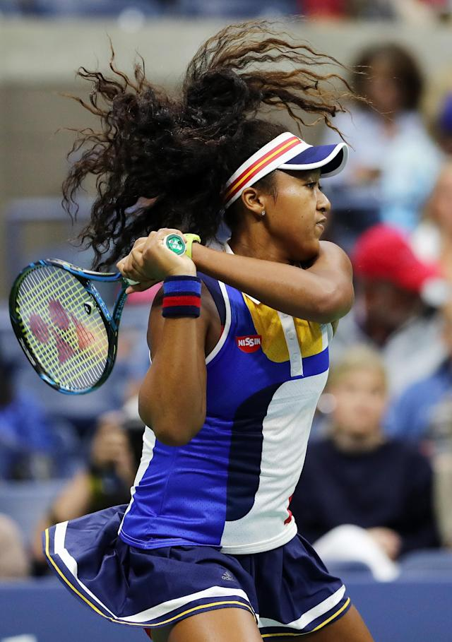 <p>Naomi Osaka of Japan returns a shot to Angelique Kerber of Germany during their first round Women's Singles match on Day Two of the 2017 US Open at the USTA Billie Jean King National Tennis Center on August 29, 2017 in the Flushing neighborhood of the Queens borough of New York City. (Photo by Elsa/Getty Images) </p>