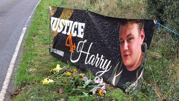 PHOTO: In this Oct. 15, 2019, file photo, a banner is shown near the RAF Croughton airbase in Northamptonshire, England, where Harry Dunn died when riding his motorcycle from his home. (Paul Howard/REX via Shutterstock, FILE)