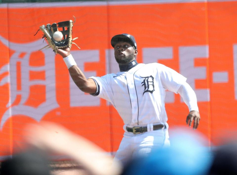 Detroit Tigers left fielder Akil Baddoo catches a fly ball vs. the Cleveland Indians during the fifth inning Sunday, April 4, 2021 at Comerica Park.