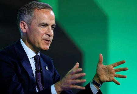 Mark Carney, Governor of Bank of England, wearing an England 'Three Lions' lapel pin, addresses the Northern Powerhouse Business Summit Boiler Shop in Newcastle