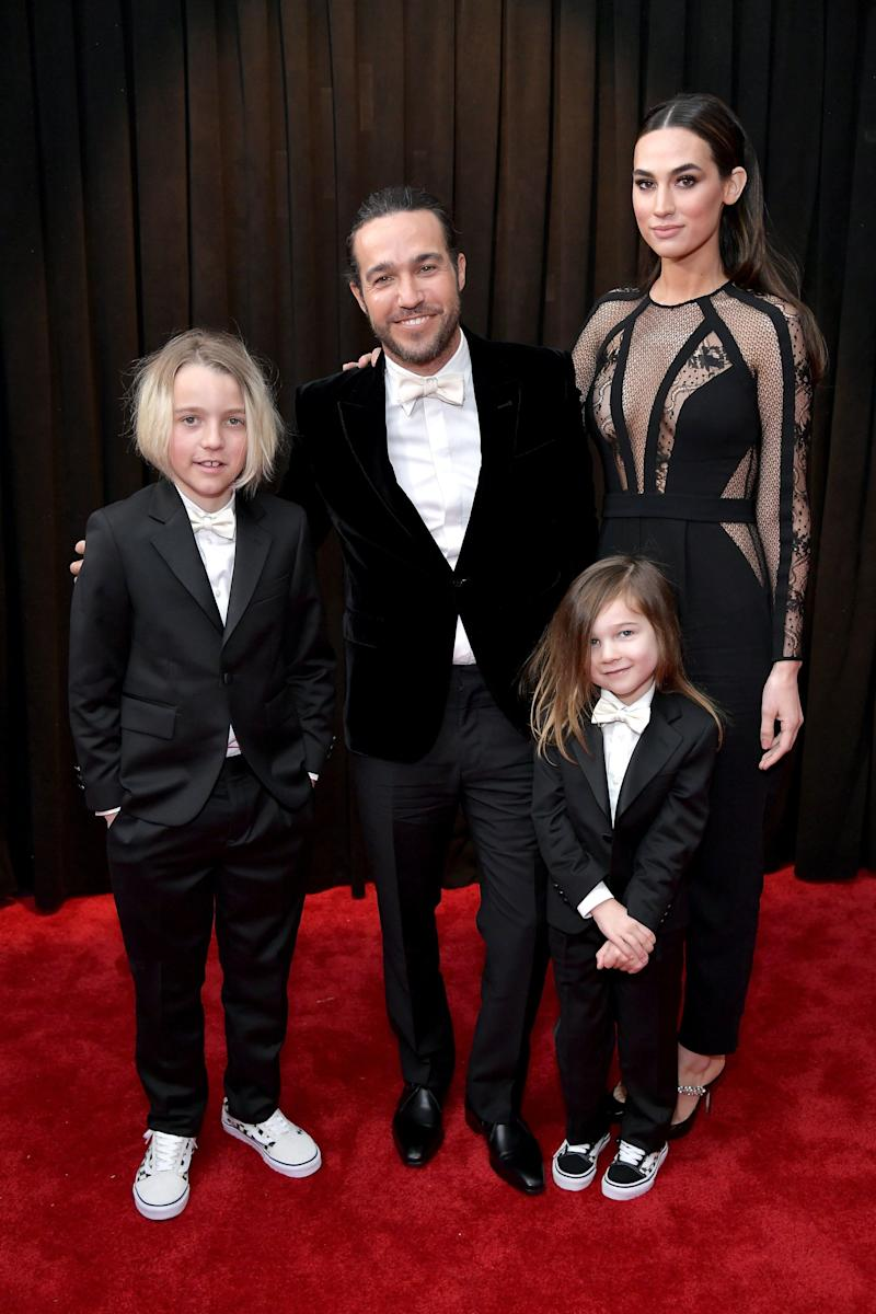 Pete Wentz with sons Bronx Mowgli, 10, and Saint Lazslo, 4, as well as partner Meagan Camper.