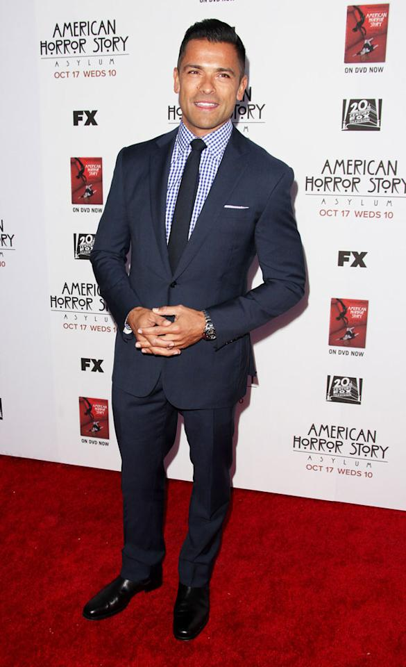 "Mark Consuelos attends the ""American Horror Story: Asylum"" premiere held at Paramount Studios on October 13, 2012 in Hollywood, California."