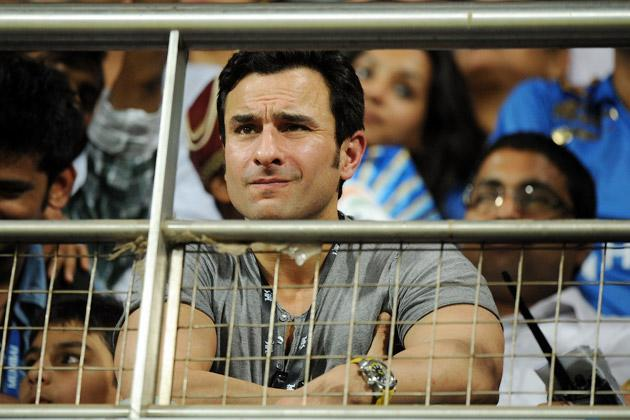 Indian Bollywood actor Saif Ali Khan watches the IPL Twenty20 cricket match between Rajasthan Royals and Mumbai Indians at The Wankhede Stadium in Mumbai on April 11, 2012. AFP PHOTO/Indranil MUKHERJEE