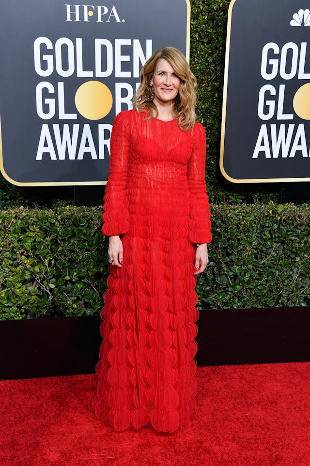 <p>The 51-year-old star looked elegant in a vibrant red look by Valentino.<br />Image via Getty Images. </p>