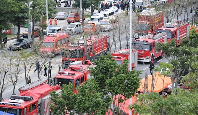 Hundreds of emergency workers have been sent to the scene. Photo: Xinhua