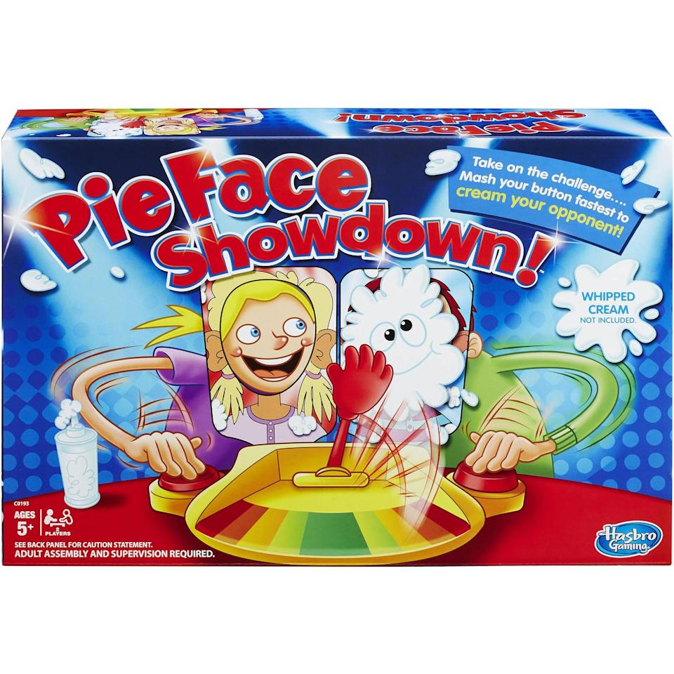 """<p>As if the original Pie Face wasn't fun enough on its own, <a href=""""https://www.popsugar.com/buy/Pie-Face-Showdown-330042?p_name=Pie%20Face%20Showdown&retailer=amazon.com&pid=330042&price=20&evar1=moms%3Aus&evar9=25997679&evar98=https%3A%2F%2Fwww.popsugar.com%2Fphoto-gallery%2F25997679%2Fimage%2F42741541%2FHasbro-Pie-Face-Showdown-Game&list1=holiday%2Cgift%20guide%2Ckid%20shopping%2Choliday%20living%2Choliday%20for%20kids&prop13=api&pdata=1"""" class=""""link rapid-noclick-resp"""" rel=""""nofollow noopener"""" target=""""_blank"""" data-ylk=""""slk:Pie Face Showdown"""">Pie Face Showdown</a> ($20) promises to be a blast. Players will compete to move the lever to their opponent's side so they're the one hit with whipped cream!</p>"""