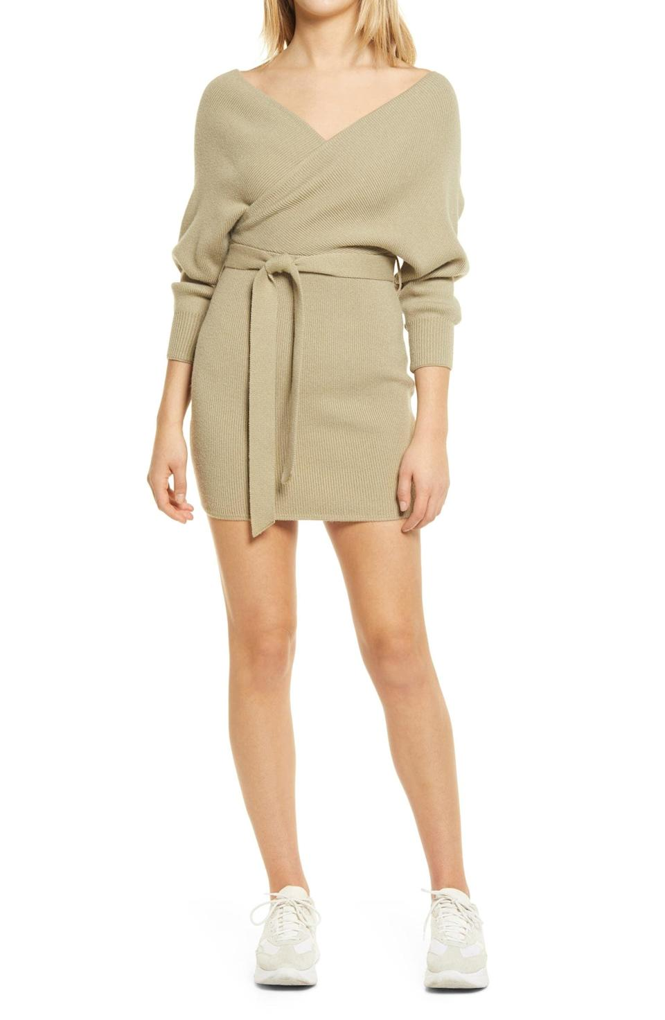 <p>You can dress this <span>Lulus Ribbed Surplice Long Sleeve Minidress</span> ($58) up with strappy heels or down with sneakers.</p>