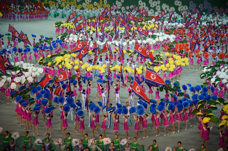 "This year's 'Grand Mass Gymnastics and Artistic Performance', titled ""The Land of the People"", had its premiere on Monday and was expected to run until October (AFP Photo/)"