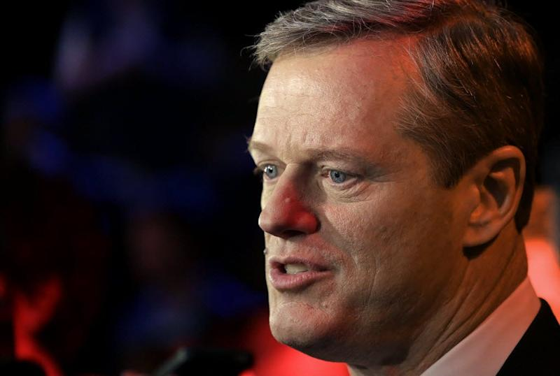 Charlie Baker speak after a televised debate on Oct. 28, 2014, in Needham, Mass.