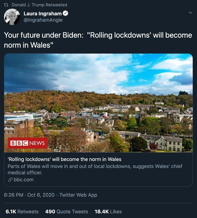 """""""I'm actually surprised that Donald Trump has even heard of Wales,"""" said one Welsh politician after President Donald Trump retweeted this post from Fox News host Laura Ingraham on Wednesday."""