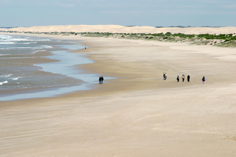 People walk on the beach in Port Stephens in NSW