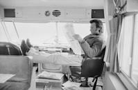 <p>Clint Eastwood relaxes in an RV, circa 1965.</p>