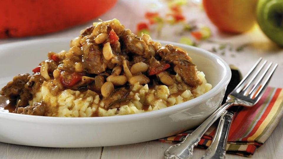 """<p>This cider-braised stew works well with your favorite <a href=""""https://www.thedailymeal.com/cook/cuts-of-pork?referrer=yahoo&category=beauty_food&include_utm=1&utm_medium=referral&utm_source=yahoo&utm_campaign=feed"""" rel=""""nofollow noopener"""" target=""""_blank"""" data-ylk=""""slk:cut of pork"""" class=""""link rapid-noclick-resp"""">cut of pork </a>or lamb. This stew doesn't require a long cooking time so you can set it aside while you take care of other things and come back to it once it's ready. Make a large batch to pack in your <a href=""""https://www.thedailymeal.com/cook/school-lunch-questions?referrer=yahoo&category=beauty_food&include_utm=1&utm_medium=referral&utm_source=yahoo&utm_campaign=feed"""" rel=""""nofollow noopener"""" target=""""_blank"""" data-ylk=""""slk:lunch box"""" class=""""link rapid-noclick-resp"""">lunch box</a>.</p> <p><a href=""""https://www.thedailymeal.com/best-recipes/cider-braised-stew-red-pepper-white-beans?referrer=yahoo&category=beauty_food&include_utm=1&utm_medium=referral&utm_source=yahoo&utm_campaign=feed"""" rel=""""nofollow noopener"""" target=""""_blank"""" data-ylk=""""slk:For the Cider-Braised Stew With Red Pepper and White Beans recipe, click here."""" class=""""link rapid-noclick-resp"""">For the Cider-Braised Stew With Red Pepper and White Beans recipe, click here.</a></p>"""