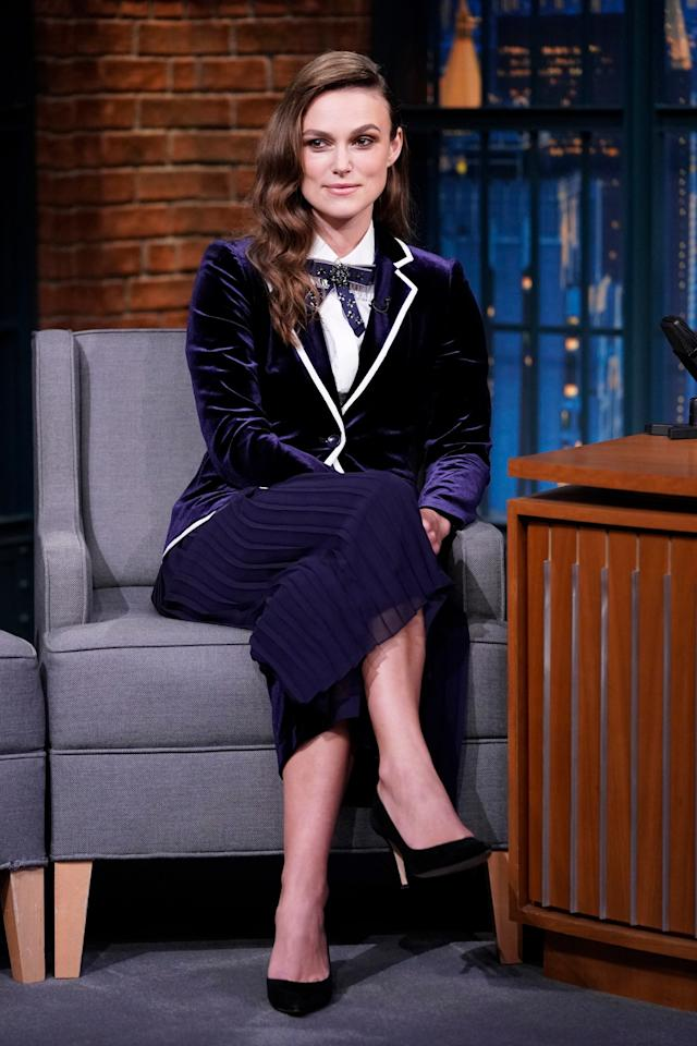 WHO: Keira Knightley<br> WHERE: <em>Late Night with Seth Meyers</em>, New York City<br> WHEN: September 13, 2018