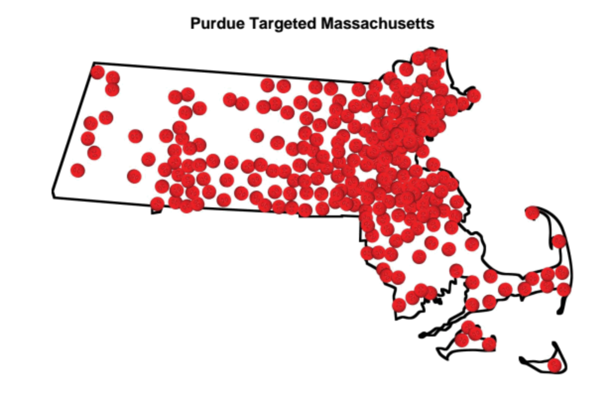 Each dot represents a city or town where Purdue sales reps promoted opioids in MA. (Photo: Commonwealth of Massachusetts v. Purdue Pharma)