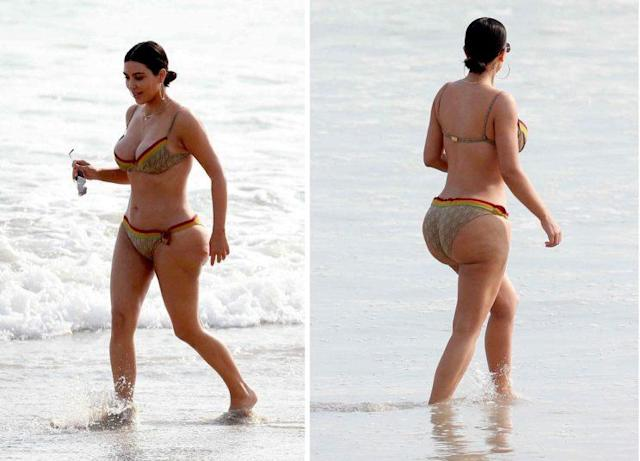 <i>Kim Kardashian was body-shamed after bikini photos revealed her cellulite [Photo: FameFlynet]</i>