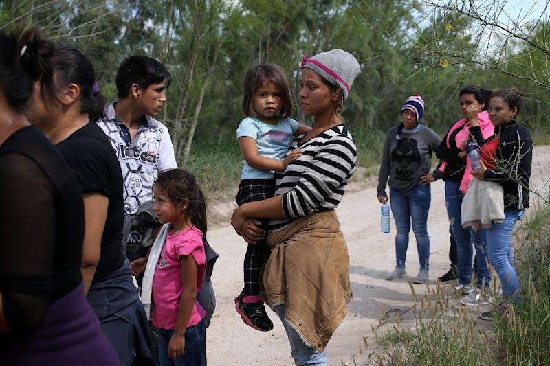 Families who crossed the border near McAllen, Texas, on May 9, 2018.
