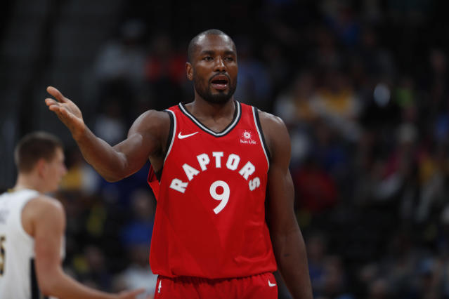 "<a class=""link rapid-noclick-resp"" href=""/nba/players/4486/"" data-ylk=""slk:Serge Ibaka"">Serge Ibaka</a> will miss Friday night's game. (AP Photo/David Zalubowski)"