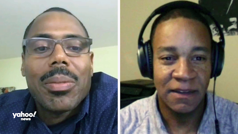 Shaun Gabbidon, professor of criminal justice at Penn State Harrisburg (left) and Ojmarrh Mitchell, associate professor of criminology and criminal justice at Arizona State University (right) (Screenshots from Yahoo News videochats)