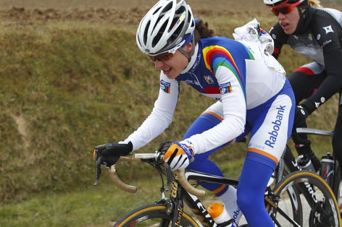 Marianne Vos on her way to winning the 2013 Tour of Flanders