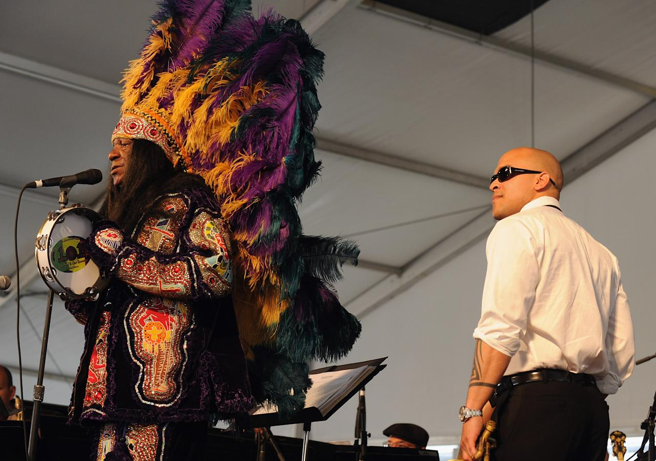 NEW ORLEANS, LA - APRIL 28:  Irvin Mayfield & the New Orleans Jazz Orchestra during the 2012 New Orleans Jazz & Heritage Festival Day 2 at the Fair Grounds Race Course on April 28, 2012 in New Orleans, Louisiana.  (Photo by Rick Diamond/Getty Images)