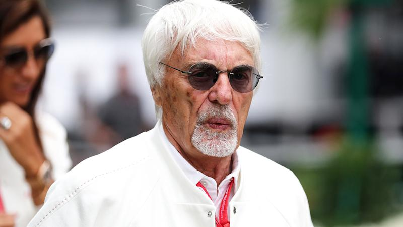 Former F1 boss Bernie Ecclestone is pictured in the paddock at the 2019 Russian Grand Prix.