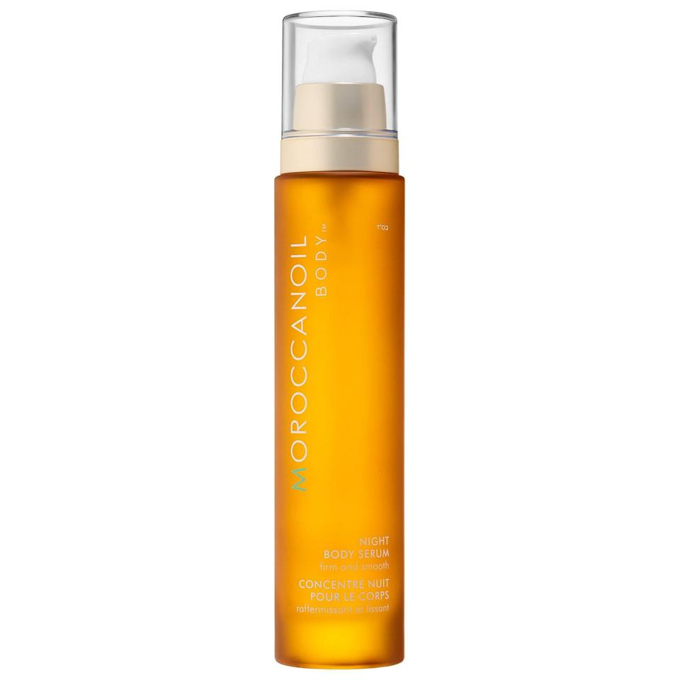"""<p><strong>Moroccanoil</strong></p><p>sephora.com</p><p><strong>$62.00</strong></p><p><a href=""""https://go.redirectingat.com?id=74968X1596630&url=https%3A%2F%2Fwww.sephora.com%2Fproduct%2Fnight-body-serum-P435939&sref=https%3A%2F%2Fwww.cosmopolitan.com%2Fstyle-beauty%2Fbeauty%2Fg33995669%2Fbest-body-serums%2F"""" rel=""""nofollow noopener"""" target=""""_blank"""" data-ylk=""""slk:Shop Now"""" class=""""link rapid-noclick-resp"""">Shop Now</a></p><p>Massage this concentrated body serum into dry or damp skin before bed and let the combo of argan oil, holy basil extract, and <a href=""""https://www.cosmopolitan.com/style-beauty/beauty/g12091058/best-vitamin-c-serum-face-skin/"""" rel=""""nofollow noopener"""" target=""""_blank"""" data-ylk=""""slk:vitamin C"""" class=""""link rapid-noclick-resp"""">vitamin C </a>work their moisturizing and brightening magic while you sleep. <strong>Your skin will be freaking glowing in the morning</strong>—trust me.</p>"""
