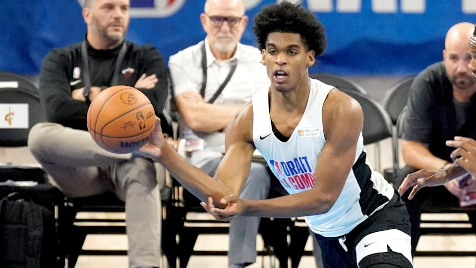 Arizona State's Josh Christopher participates in the NBA Draft Combine at the Wintrust Arena Thursday, June 24, 2021, in Chicago. (AP Photo/Charles Rex Arbogast) ORG XMIT: ILCA127