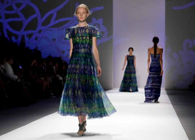 The Tadashi Shoji Spring 2013 collection is modeled during Fashion Week in New York, Thursday, Sept. 6, 2012. (AP Photo/Richard Drew)