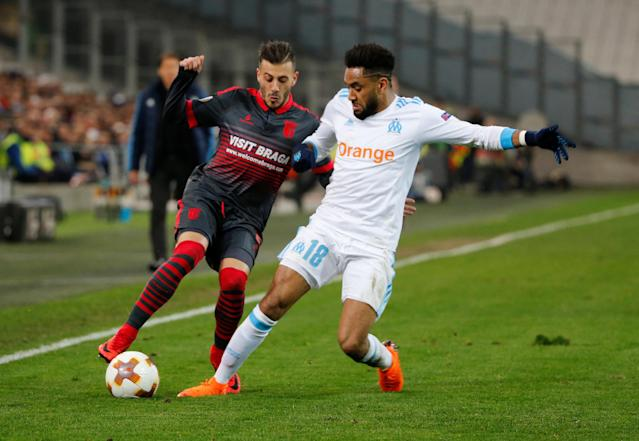 Soccer Football - Europa League Round of 32 First Leg - Olympique de Marseille vs S.C. Braga - Orange Velodrome, Marseille, France - February 15, 2018 Sporting Braga's Diogo Figueiras in action with Marseille's Jordan Amavi REUTERS/Jean-Paul Pelissier