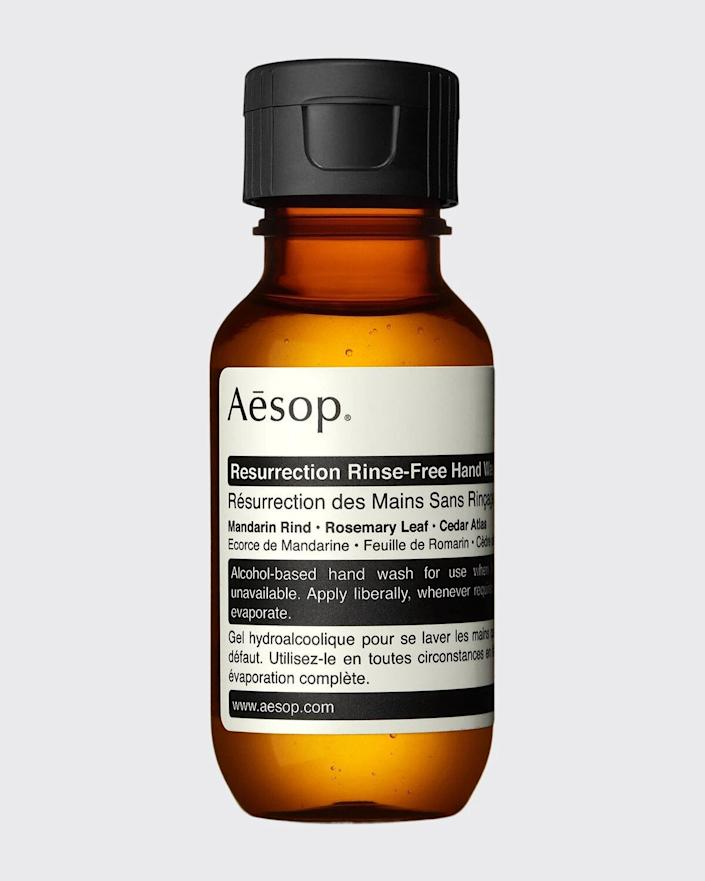 """<h3>Aesop Resurrection Rinse-Free Hand Wash<br></h3> <br>Not only is this fresh-smelling hand sanitizer effective, but it's also beautiful. Who wouldn't want to whip it out of their purse during a long ride on the subway?<br><br><strong>Aesop</strong> Resurrection Rinse-Free Hand Wash, $, available at <a href=""""https://shop.nordstrom.com/s/aesop-resurrection-rinse-free-hand-wash/4365910/lite"""" rel=""""nofollow noopener"""" target=""""_blank"""" data-ylk=""""slk:Nordstrom"""" class=""""link rapid-noclick-resp"""">Nordstrom</a><br>"""