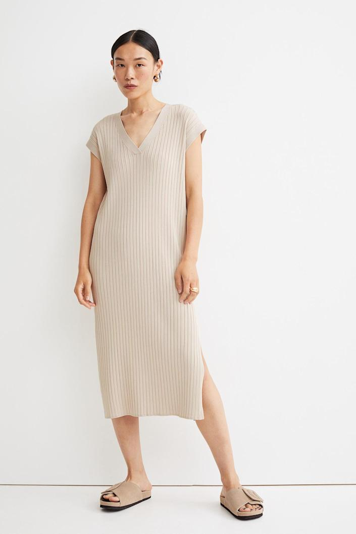 <p>This <span>Rib-Knit Dress</span> ($50) may seem simple, but it has an understated elegance that makes it irresistible. It will pair well with your weekend plans.</p>