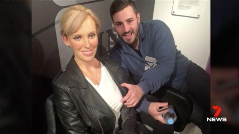 In another post he's seen groping a model of actress Toni Collette. Source: 7 News