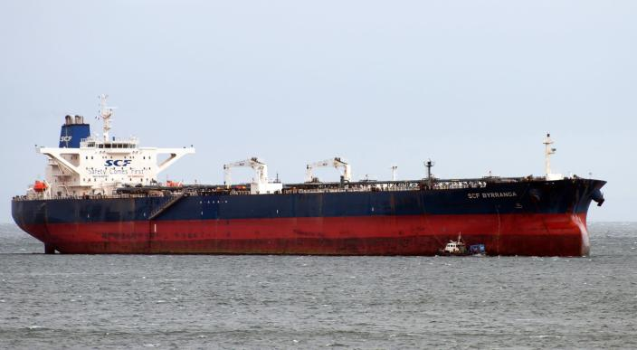 The oil tanker SCF Byrranga, which was renamed the United Kalavryta (also known as United Kalavrvta) in March 2014 and is currently off the coast of Texas with a cargo of Kurdish crude oil, is seen off the Isle of Arran, Scotland in this handout photo taken February 21, 2014. A high-stakes dispute over a tanker carrying $100 million in Iraqi Kurdish crude took a surprising turn on July 29, 2014 when a U.S. judge said she lacked jurisdiction given the ship's distance from the Texas shore and urged that the case be settled in Iraq. Federal magistrate Nancy K. Johnson said that because the tanker was some 60 miles (100 km) offshore, and outside territorial waters, an order she issued late on Monday for U.S. Marshals to seize the cargo could not be enforced. REUTERS/Tom Duncan/Handout via Reuters (BRITAIN - Tags: ENERGY TRANSPORT BUSINESS) ATTENTION EDITORS - NO SALES. NO ARCHIVES. FOR EDITORIAL USE ONLY. NOT FOR SALE FOR MARKETING OR ADVERTISING CAMPAIGNS. THIS PICTURE WAS PROVIDED BY A THIRD PARTY. REUTERS IS UNABLE TO INDEPENDENTLY VERIFY THE AUTHENTICITY, CONTENT, LOCATION OR DATE OF THIS IMAGE. THIS PICTURE IS DISTRIBUTED EXACTLY AS RECEIVED BY REUTERS, AS A SERVICE TO CLIENTS