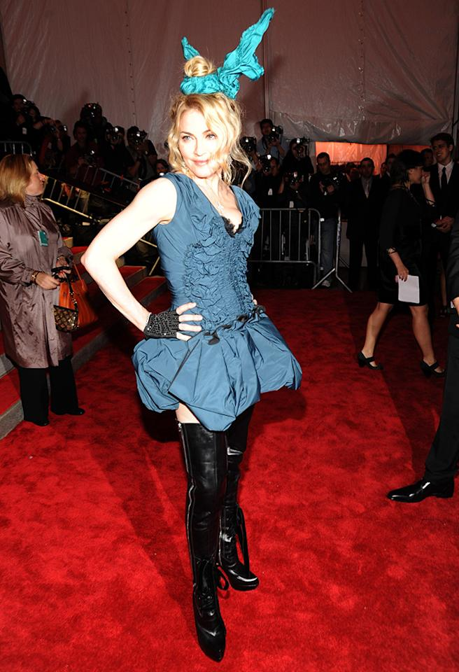 Madonna - 2009 Whether you loved or loathed the look, chances are you still remember seeing the Material Girl strike a pose in a pair of Louis Vuitton bunny ears at the Met!