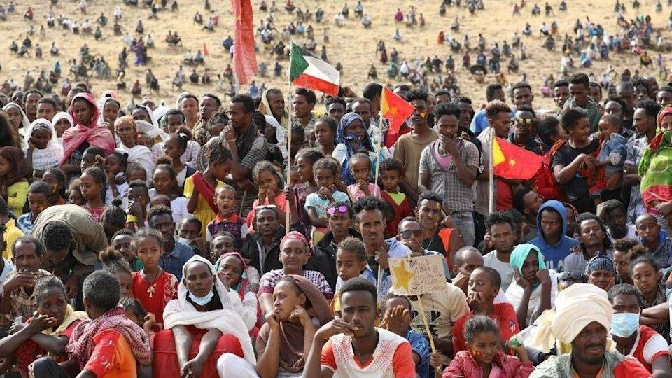 Refugees from the Tigray region at a refugee camp in Sudan