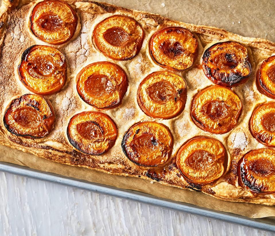 """A luxurious almond cream makes this one-hour summer stone fruit dessert taste like an all-day labor of love. <a href=""""https://www.epicurious.com/recipes/food/views/one-hour-apricot-and-almond-galette?mbid=synd_yahoo_rss"""" rel=""""nofollow noopener"""" target=""""_blank"""" data-ylk=""""slk:See recipe."""" class=""""link rapid-noclick-resp"""">See recipe.</a>"""