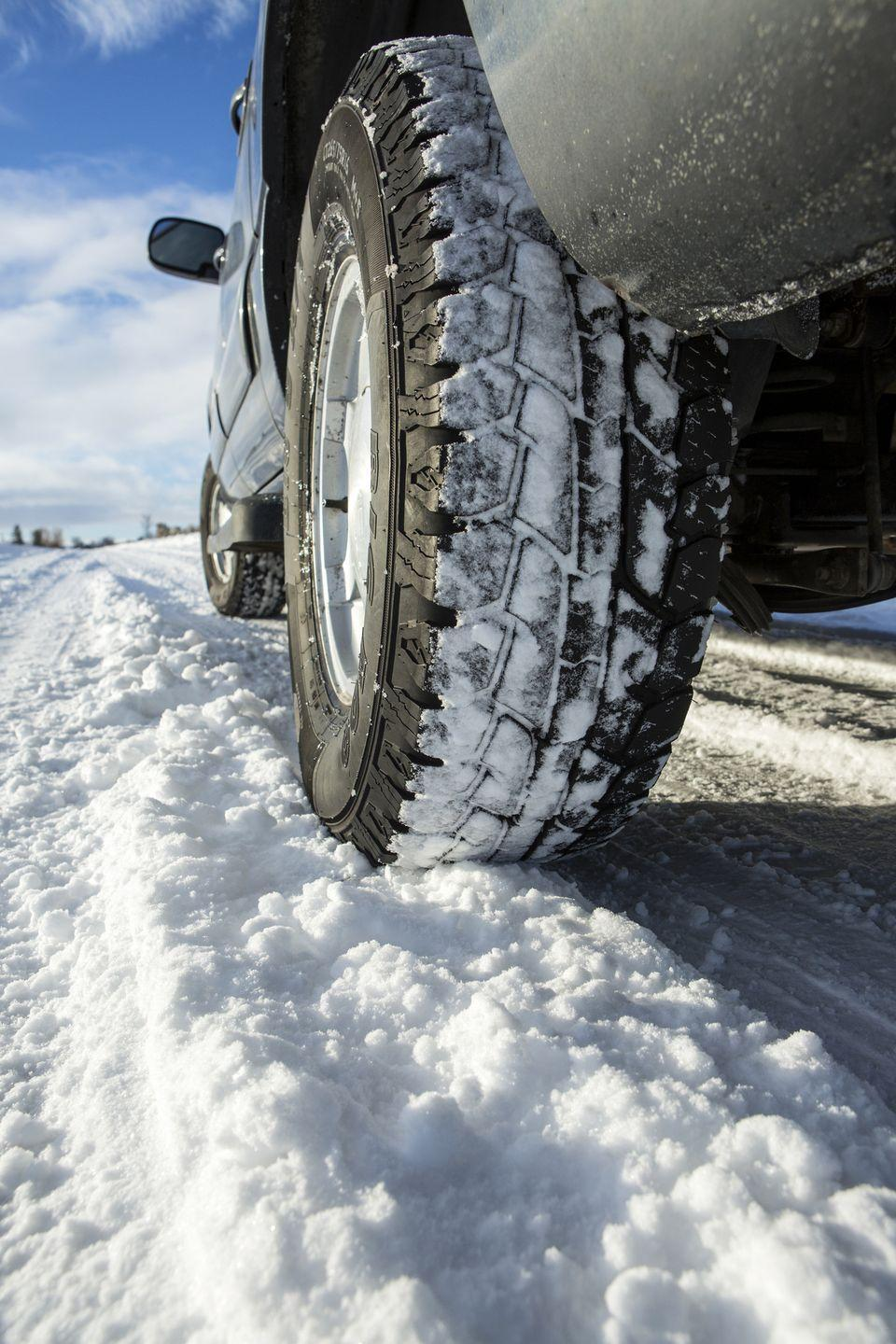 "<p>If you notice any uneven tread on your tires, you may want to get them replaced or repaired so that your tires are ready for winter. Depending on your local climate, consider investing in snow tires. ""No matter what kind of tires you use on your car, the tread depth should be at least 3mm along the entire way around to allow ice and snow to be packed in so you can maintain sufficient contact with the road,"" says Peters. Snow tires wear out quicker than your regular tires, so make sure you revert back at the end of the season. Also, be sure to check your tire pressure regularly, as it affects fuel economy. They start to deflate once temperatures fall below 32 degrees. Low tire pressure reduces the tread and traction, which can lead to sliding on ice.</p>"