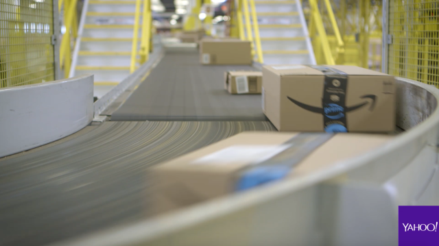 Customers' orders travel miles of brisk-moving conveyor belts at any one of the 75-plus Amazon fulfillment centers in the U.S. Source: Yahoo Finance