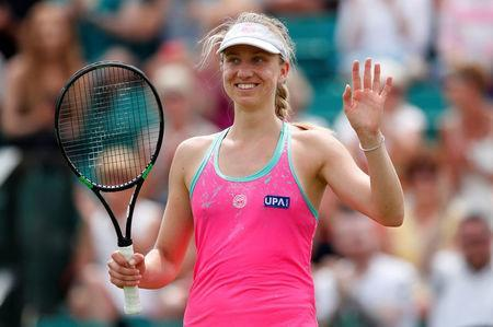 Tennis - WTA International - Nature Valley Open - Nottingham Tennis Centre, Nottingham, Britain - June 13, 2018 Germany's Mona Barthel celebrates victory in her second round match against Magdalena Rybarikova of Slovakia Action Images via Reuters/Peter Cziborra