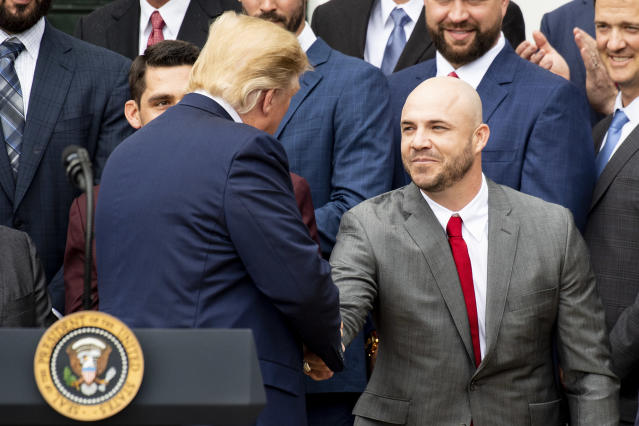 WASHINGTON, DC - MAY 9: U.S. President Donald Trump recognizes Steve Pearce #25 of the Boston Red Sox during a visit to the White House in recognition of the 2018 World Series championship on May 9, 2019 in Washington, DC. (Photo by Billie Weiss/Boston Red Sox/Getty Images) *** Local Caption *** Donald Trump; Steve Pearce