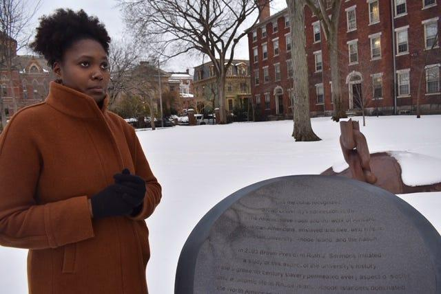 Maiyah Gamble-Rivers created the Slavery & Legacy tour for the Center for the Study of Slavery & Justice at Brown University that includes a stop at the Slavery Memorial.