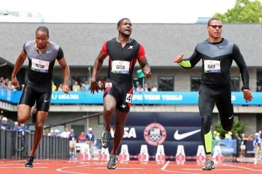 (L-R) Darvis Patton, Justin Gatlin and Ryan Bailey compete in the men's 100m dash semi-final at the US Olympic Track and Field Team Trials on June 24. Gatlin later won the final in 9.80 seconds, the third-best time in the world this year